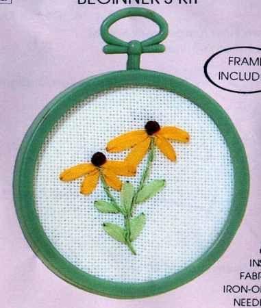 Sárga virág - szalaghímzés készlet