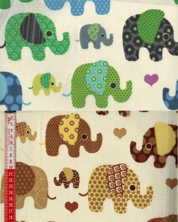 Mókás elefántok - mintás vászon anyag