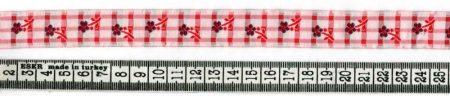 Szalag - textil - kockás - virágos