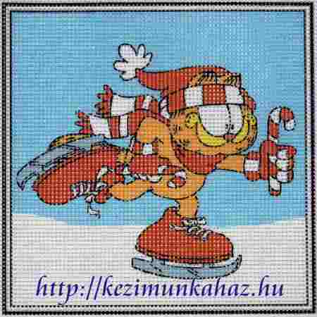 Garfield korcsolyázik - előnyomott gobelin
