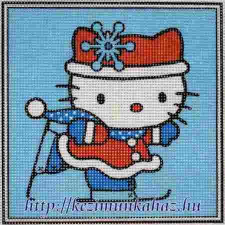 Hello Kitty síel - előnyomott gobelin