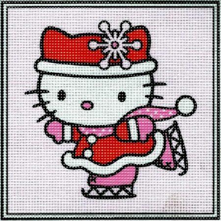 Hello Kitty korcsolyázik - előnyomott gobelin