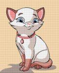 Fehér cica - előnyomott gobelin