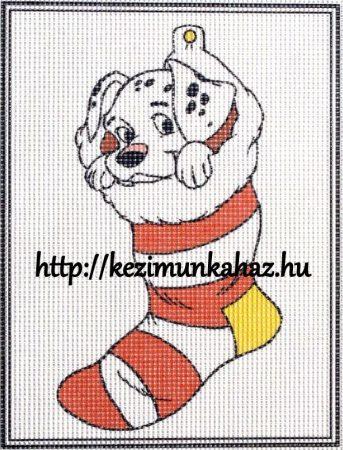 Dalmata kutyus zokniban - előnyomott Hudemas gobelin
