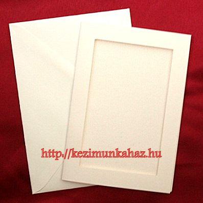 Ekrü képeslap készlet hímezhető betéttel