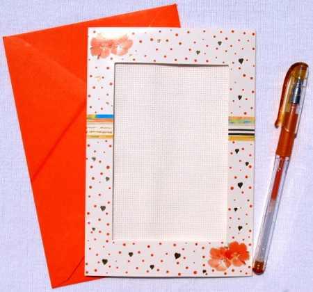 Narancssárga virágok - képeslap készlet hímezhető betéttel