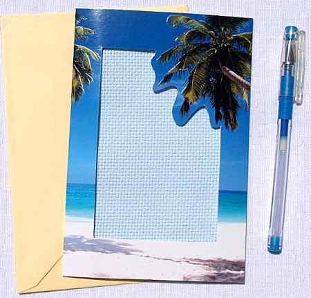 Tengerpart - képeslap készlet hímezhető betéttel