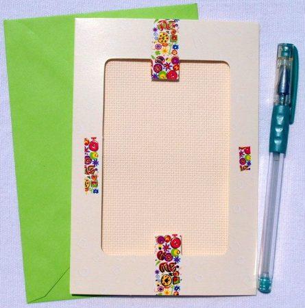 Szívek és pillangók - képeslap készlet hímezhető betéttel