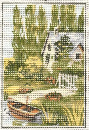 Ház a folyóparton - előnyomott gobelin