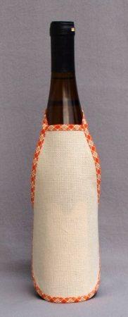 Hímezhető kötény üvegre - narancs kockás