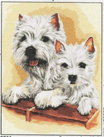 Westie kutyusok - előnyomott gobelin