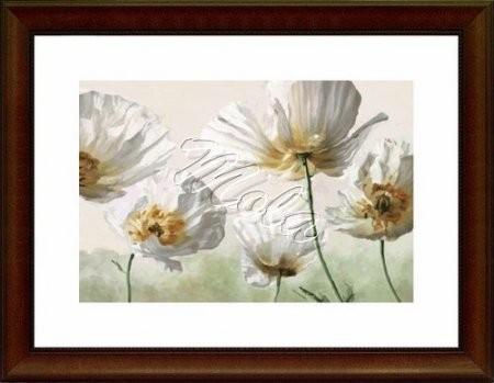 Fehér virágok- pipacsok- előnyomott gobelin