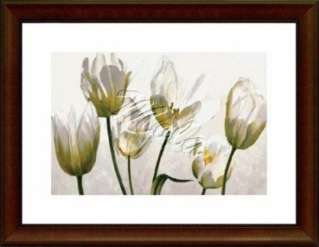Fehér virágok- tulipántok- előnyomott gobelin