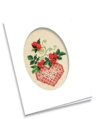 Piros rózsa - Riolis keresztszemes- és szalaghímzés készlet