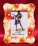 Narancssárga virágok - kerámia képkeret