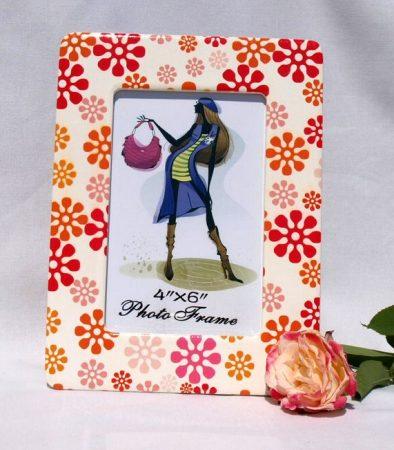Retro virág - kerámia képkeret