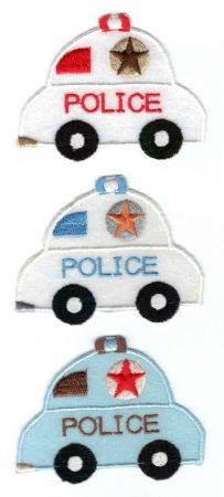 Rendőrautó - ruhára vasalható textil matrica