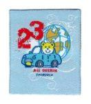 23-autós mackó - ruhára vasalható textil matrica
