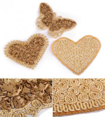 Lepke és szívek - ruhára vasalható textil matrica