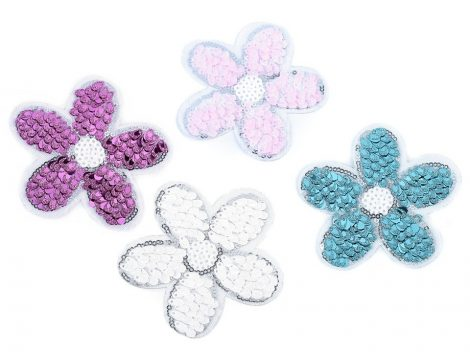 Virág - flitteres ruhára vasalható textil matrica