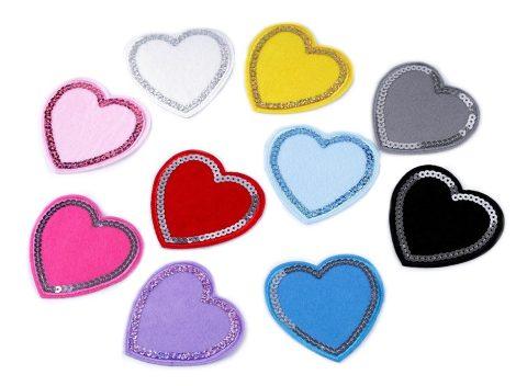 Szív flitteres - ruhára vasalható textil matrica