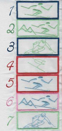 Síelő - ruhára varrható textil matrica