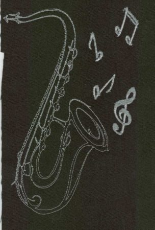 Szaxofon - ruhára varrható textil matrica