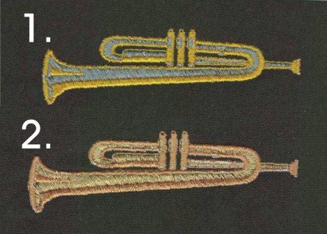Trombita - ruhára varrható textil matrica