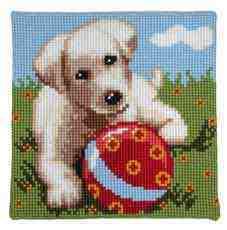 Kutya labdával - Vervaco előfestett keresztszemes párna készlet