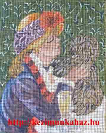 Nő kutyával - előfestett gobelin