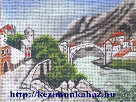 Római híd Mostarban - előnyomott gobelin
