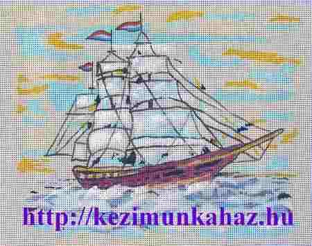 Vitorlás fregatt - előfestett gobelin