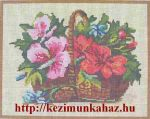 Kosár teli virágokkal - előnyomott gobelin