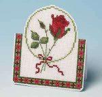 Vörös rózsa - papírra hímezhető keresztszemes képeslap