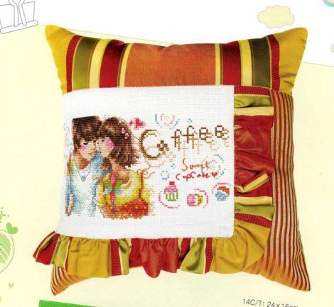 Kávé és muffin - leszámolható keresztszemes párna készlet