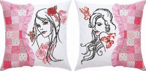 Nők - előfestett keresztszemes dupla párna készlet