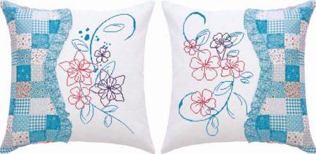 Virágok - előfestett keresztszemes dupla párna készlet