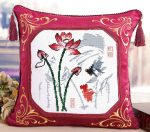 Lótusz virág - előfestett keresztszemes bársony párna készlet