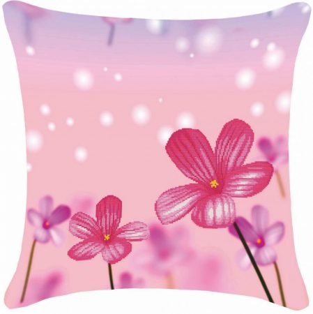 Lila virágok - előfestett keresztszemes párna készlet