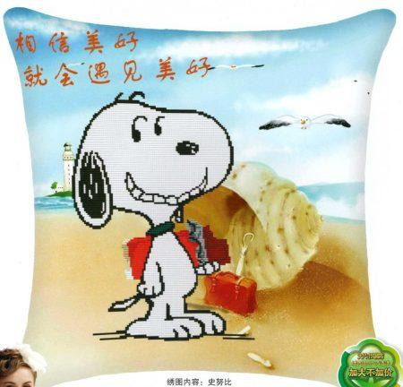 Snoopy - előfestett keresztszemes párna készlet