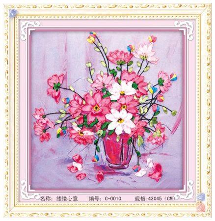Virágcsokor csendélet - szalaghímzés készlet