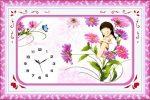 Lány a virágok között - szalaghímzés óra készlet