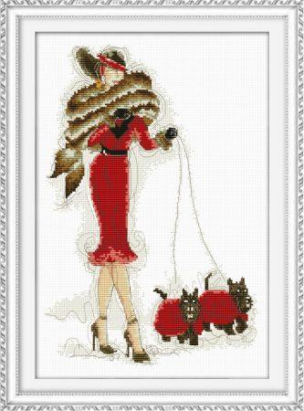 Modern nő pirosban- keresztszemes készlet
