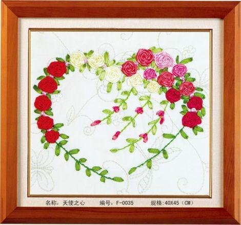 Virágos szív - szalaghímzés készlet