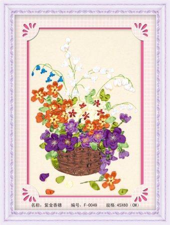 Kosár teli virágokkal - szalaghímzés készlet