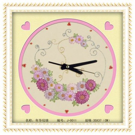 Virágos óralap - szalaghímzés készlet