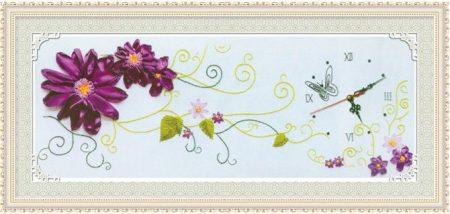 Lila virágos óra - szalaghímzés készlet
