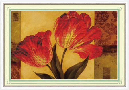 Tulipántok - előfestett keresztszemes kép készlet