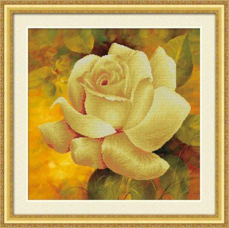 Sárga rózsa - előfestett keresztszemes kép készlet