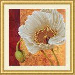 Fehér pipacs - előfestett keresztszemes kép készlet